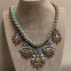 NWOT Acrylic Mod Floral Rope Rhinestone Necklace